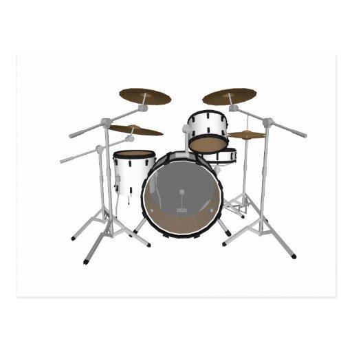 Drums: White Drum Kit: 3D Model: Post Card