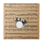 Drums With Sheet Music Background Ceramic Tile