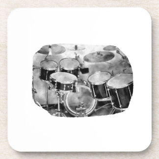 Drumset Black and White Photograph Design Coaster