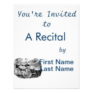 Drumset Black and White Photograph Design Personalized Announcements