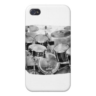 Drumset Black and White Photograph Design iPhone 4 Cases