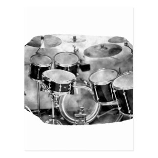 Drumset Black and White Photograph Design Postcard