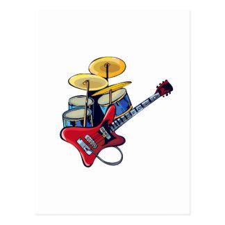 drumset blue.png rojo de la guitarra eléctrica postal