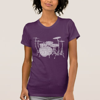 Drumset formó el texto del blanco del arte de la p t-shirt