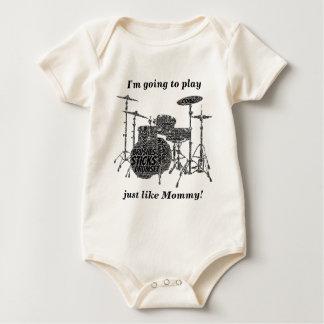 Drumset formó el texto del negro del arte de la trajes de bebé