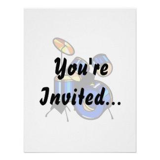 Drumset Graphic Blue version trap set image Personalized Invitation