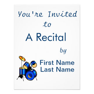 Drumset Graphic Blue version trap set image Personalized Invitations