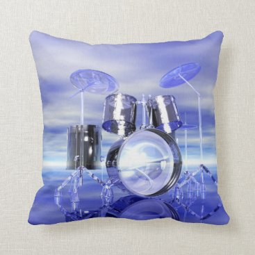 Beach Themed Drumset on the Beach Music Throw Pillow