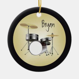 Drumset personalizó el ornamento del navidad adorno navideño redondo de cerámica
