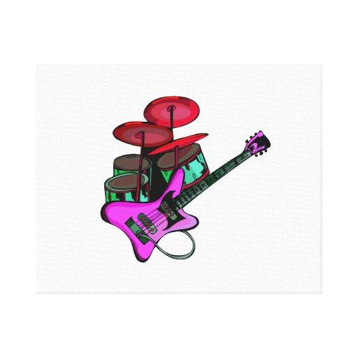 drumset pink.png rojo de la guitarra eléctrica lienzo envuelto para galerias