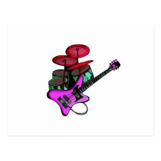 drumset pink.png rojo de la guitarra eléctrica postal