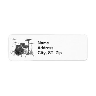 Drumset Shaped Word Art Black Text Label