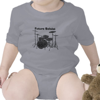 Drumset Shaped Word Art Black Text Romper