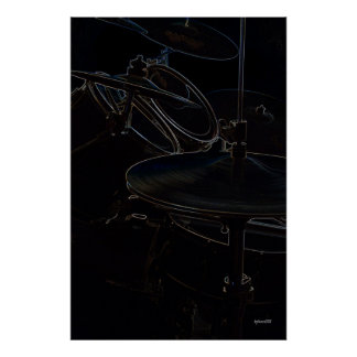 Drumset Side View Highlights Poster