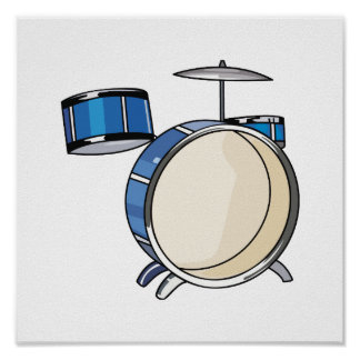 drumset simple three piece blue.png poster