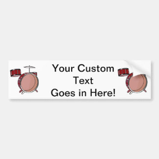drumset simple three piece red.png bumper sticker