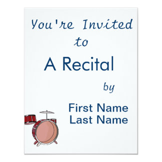 """drumset simple three piece red.png 4.25"""" x 5.5"""" invitation card"""