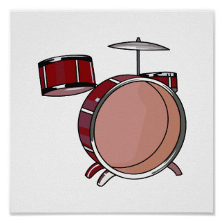 drumset simple three piece red.png poster