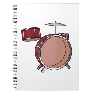 drumset simple three piece red.png spiral notebook