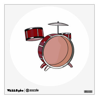 drumset simple three piece red.png wall decal