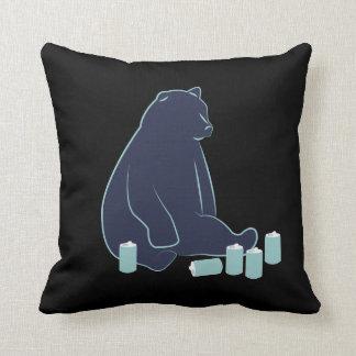 Drunk Bear Throw Pillow