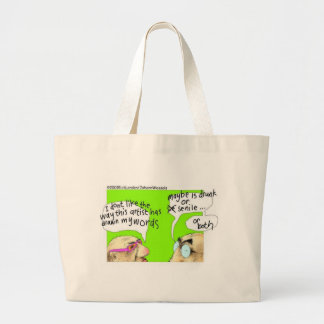 Drunk Cartoonists Funny Gifts Tees & Collectibles Large Tote Bag