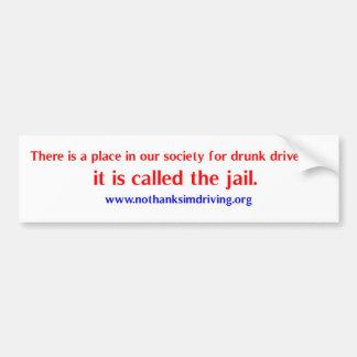 Drunk drivers place car bumper sticker