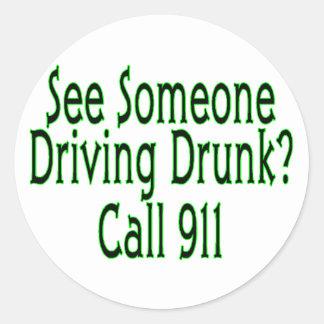 Drunk Driving Call 911 Classic Round Sticker