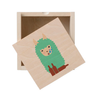 Drunk Emoji Llama Wooden Keepsake Box
