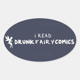 Drunk Fairy Comics Blue Oval Sticker