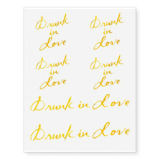 Drunk in Love Bachelorette Tattoos in Gold
