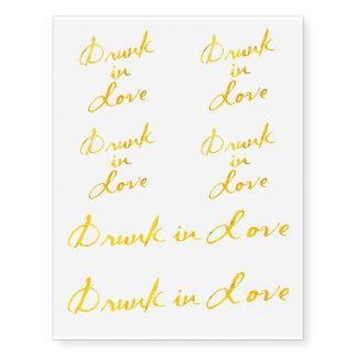 Drunk in Love Bachelorette Tattoos in Gold