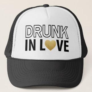 Drunk in Love Black & Gold Heart Trucker Hat