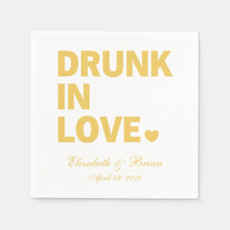 """Drunk in love"" Personalized Golden Wedding Napkin"