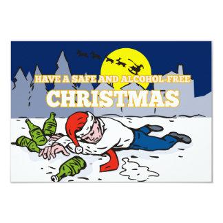 Drunk Man Wearing Santa Hat 3.5x5 Paper Invitation Card
