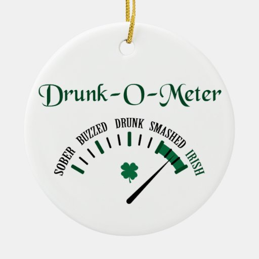 Drunk-O-Meter Double-Sided Ceramic Round Christmas Ornament