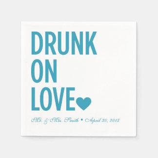 Drunk on Love Wedding Napkins Blue Standard Cocktail Napkin