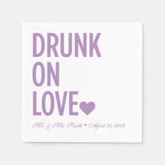 Drunk on Love Wedding Napkins Lavender