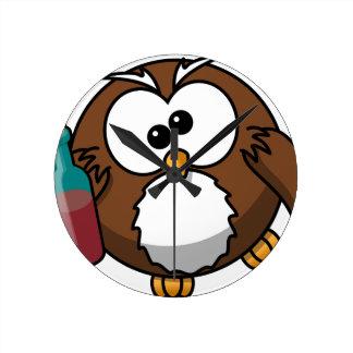 Drunk Owl Round Clock