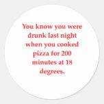 drunk pizza classic round sticker