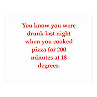 drunk pizza postcard