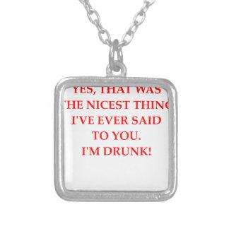 DRUNk Square Pendant Necklace