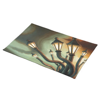Drunk Streetlamps Cloth Placemat