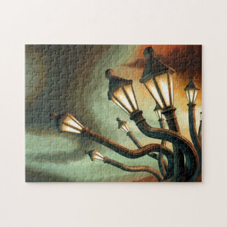 Drunk Streetlamps Jigsaw Puzzle