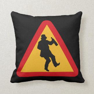 Drunk Warning custom throw pillow