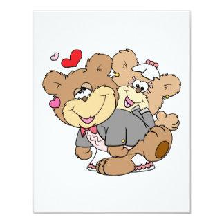 "drunk with love cute wedding bears 4.25"" x 5.5"" invitation card"