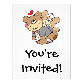 drunk with love cute wedding bears personalized invitation