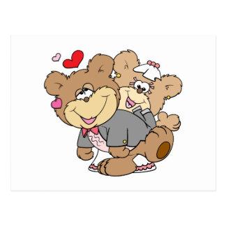 drunk with love cute wedding bears postcard