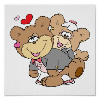 drunk with love cute wedding bears posters