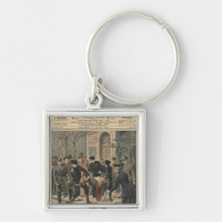Drunkards in Berlin Silver-Colored Square Keychain